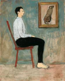 Seated Man and Dog